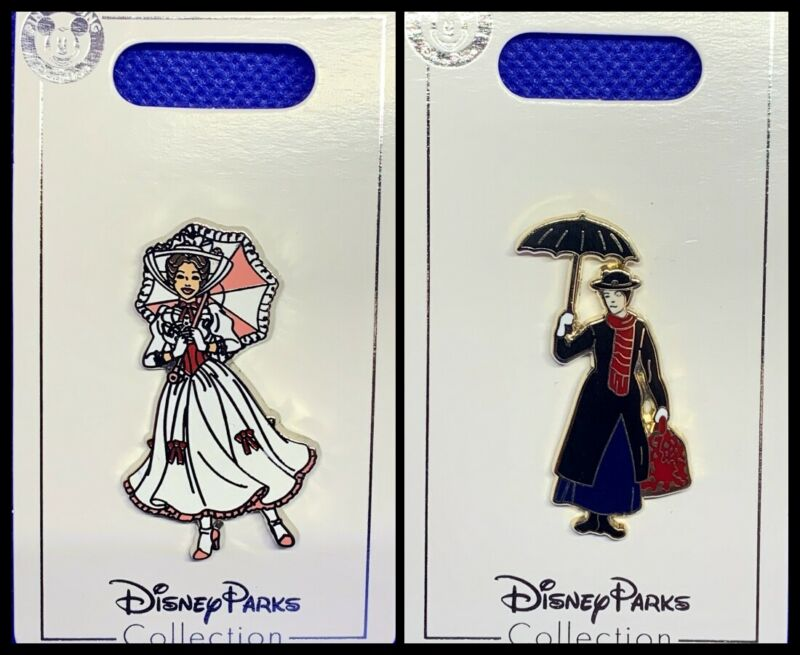 Disney Parks 2 Pin lot MARY POPPINS in white dress + traditional black dress
