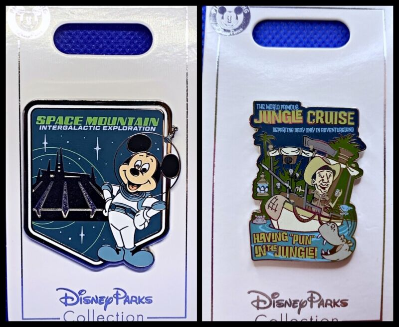 Disney Parks 2 Pin lot SPACE MOUNTAIN Mickey Intergalactic + Jungle Cruise - New