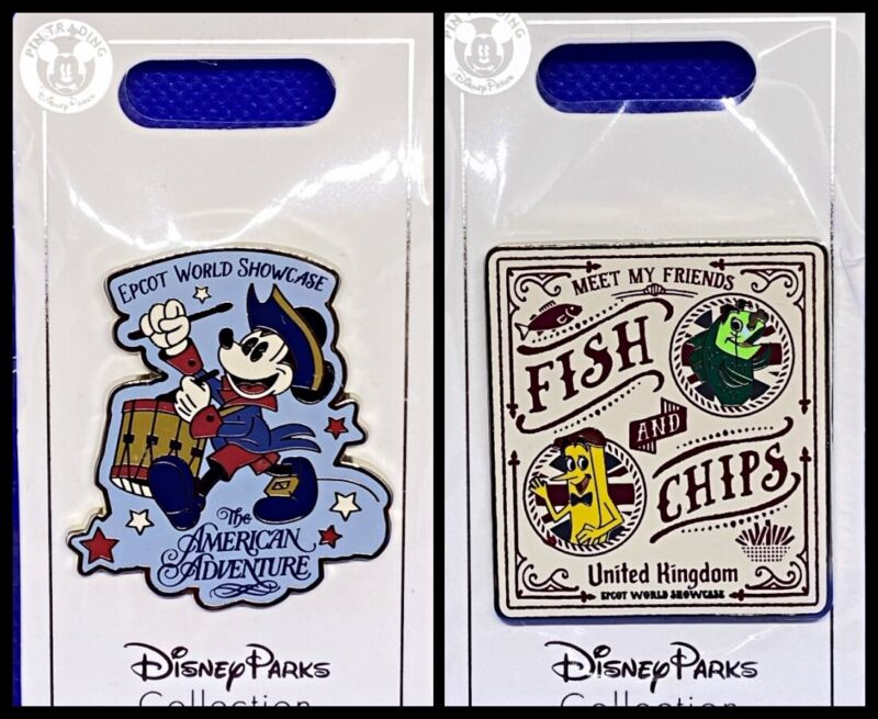 Disney Parks 2 Pin lot Epcot Showcase American Adventure + Fish & Chips UK - New