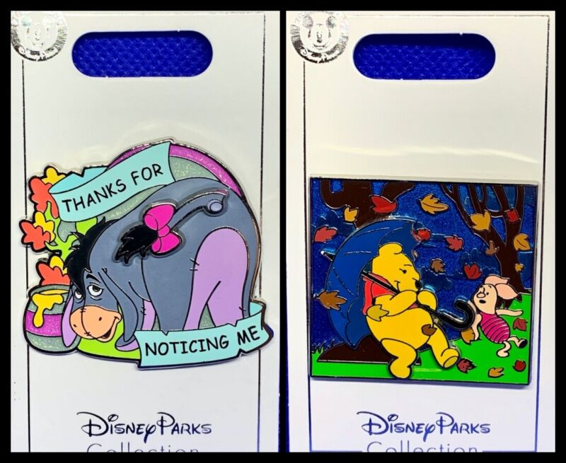 Disney Parks 2 Pin lot Eeyore with moving tail + Pooh & Piglet rainy day - NEW