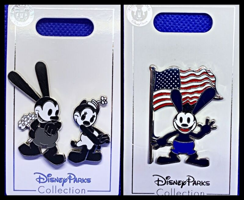 Disney Parks 3 Pin lot Oswald & Ortensia + Oswald w/ USA flag - New