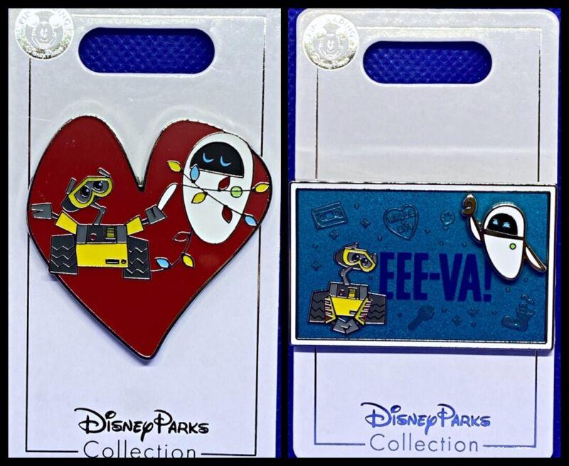 Disney Parks 2 Pin lot Wall-E & Eve Valentines heart + Eee-Va! - NEW