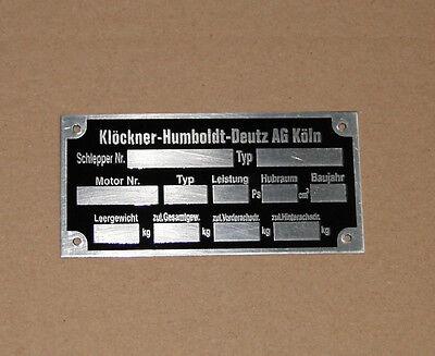 Typenschild Deutz - geätzt Aluminium D und 05 Serie Traktor 712 812 (21