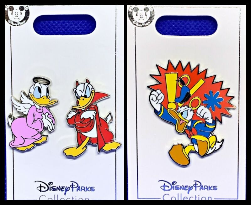 Disney Parks 3 Pin lot Donald Duck Angel & Devil Duet + Angry Duck - New