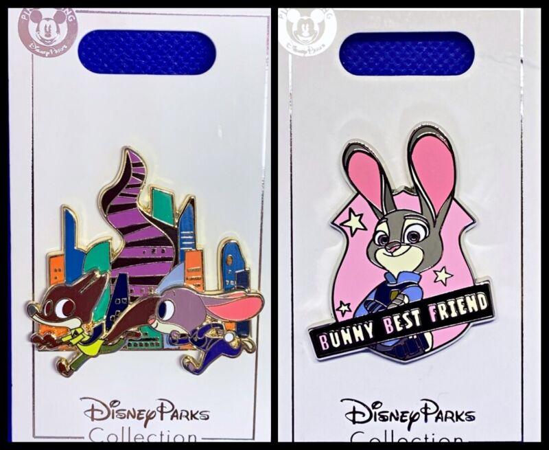 Disney Parks 2 Pin lot ZOOTOPIA Judy & Nick running + Judy Hops bunny - NEW