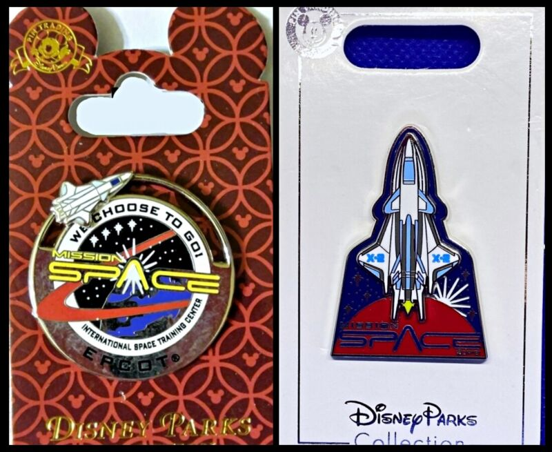 Disney Parks 2 Pin lot EPCOT Mission Space slider + space ship - New