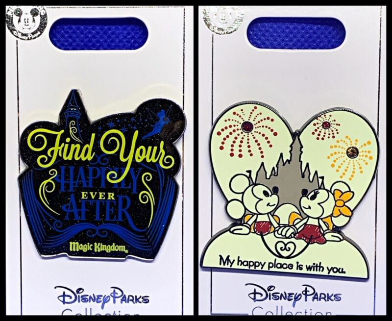 Disney Parks 2 Pin Lot Find your Happily Ever After + Happy Place Mickey - NEW