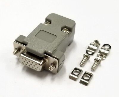 HD15 Pin Female D-Sub VGA Cable Mount Connector w/ Plastic Cover & Hardware DB15 ()