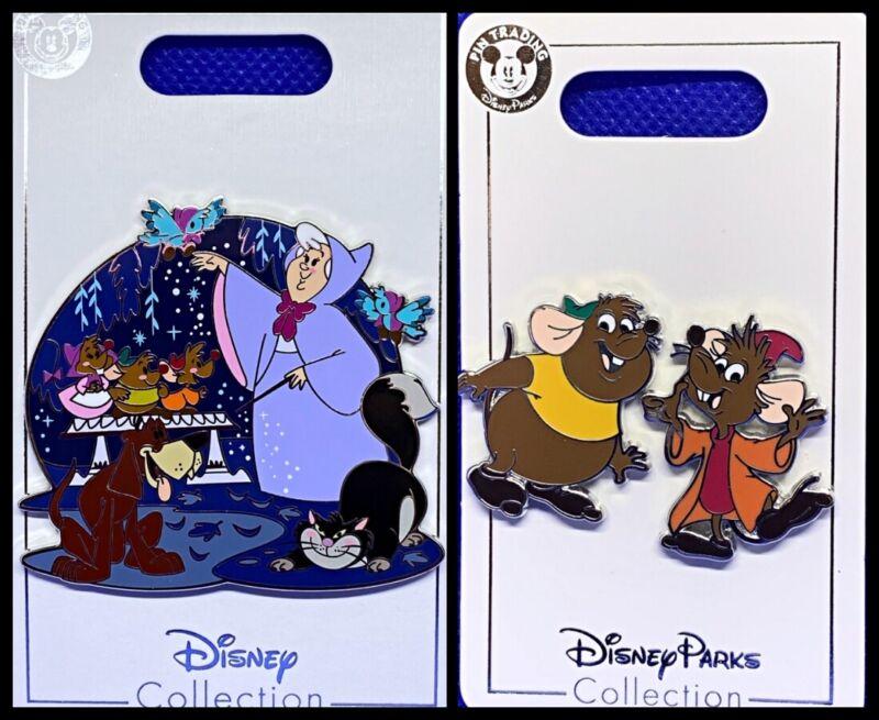 Disney Parks 3 Pin lot Cinderella friends fairy big pin + Jax & Gus Mice - New