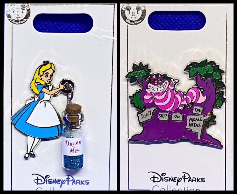 Disney Parks 2 Pin lot Alice w/ magic bottle + Cheshire on tree