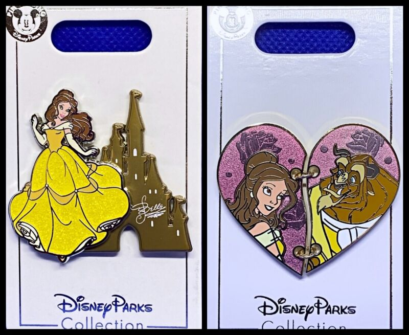 Disney Parks 2 Pin lot Belle Castle + Beauty and the Beast Heart BATB - New