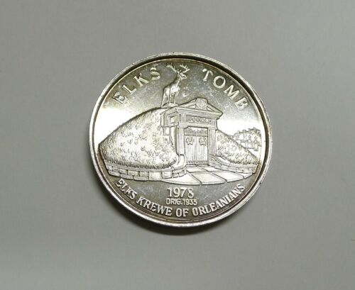 1 Troy Oz. .999 Fine Silver! Elks Mardi Gras Doubloon! Beautifully Detailed!