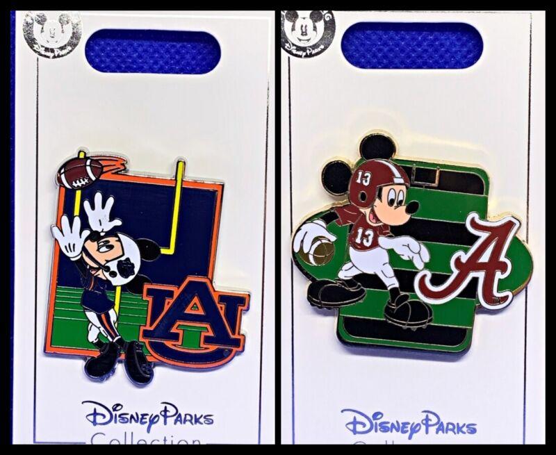 Disney Parks 2 Pin lot AUBURN UNIVERSITY + ALABAMA Mickey Football - New