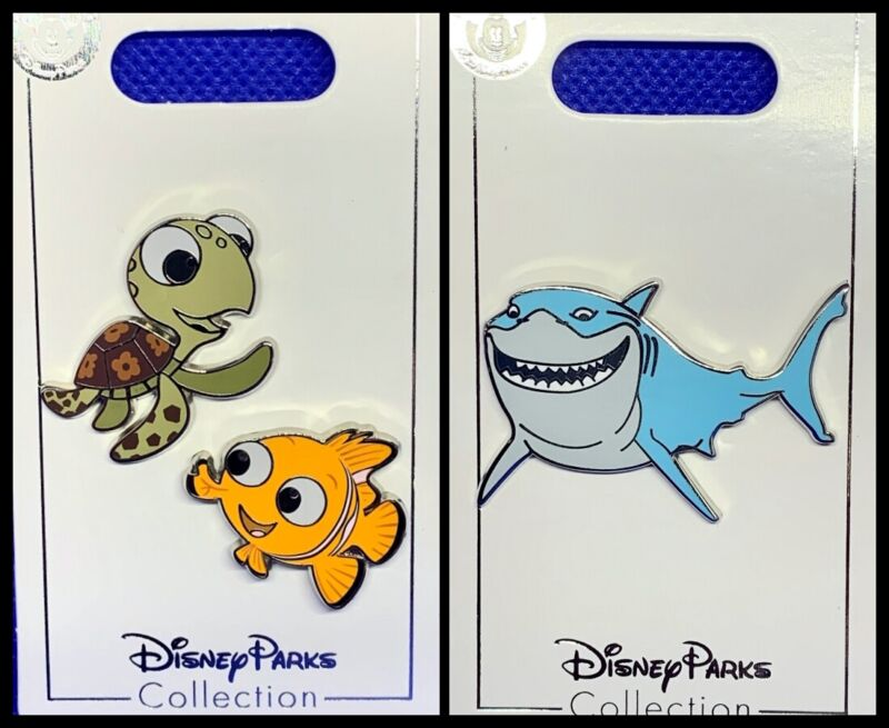 Disney Parks 3 Pin lot Finding Nemo with Squirt + Bruce shark