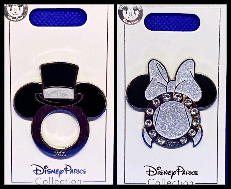 Disney Parks 2 Pin Lot Wedding Mrs. & Mr. Mickey Minnie bride + groom heads