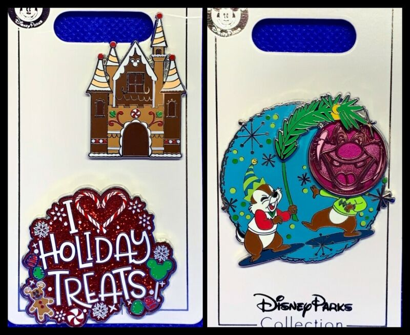 Disney Parks 3 Pin lot CHRISTMAS Holiday Treats Gingerbread House + Chip & Dale