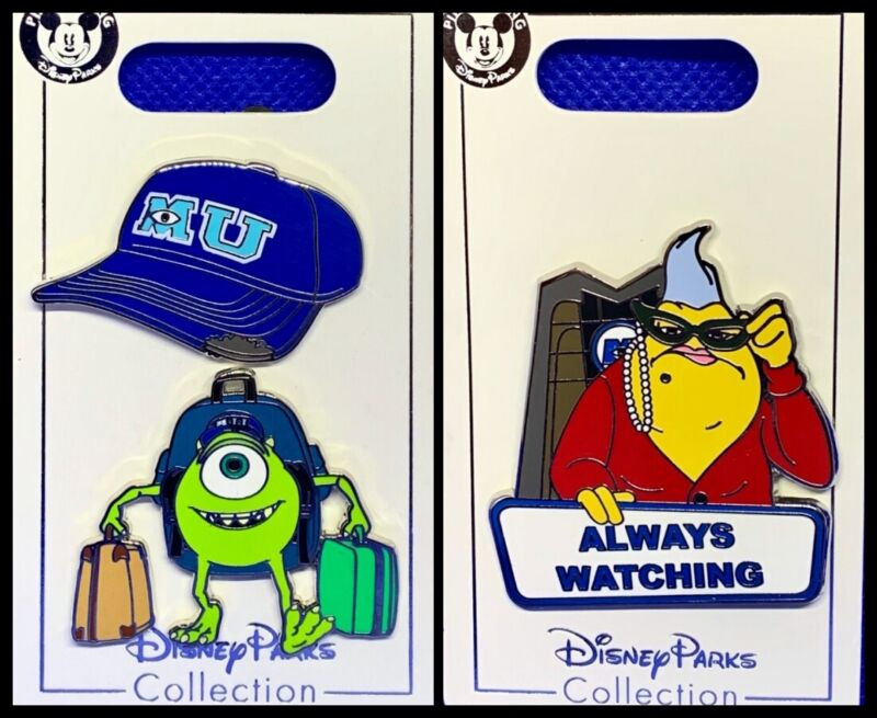 Disney Parks 3 Pin lot Monsters Inc Mike University + Roz Always Watching - NEW
