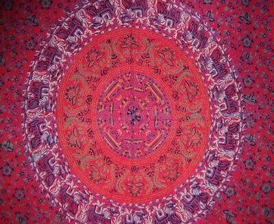 "Sanganeer Block Print Curtain Drape Panel Cotton 46"" x 88"" Red"