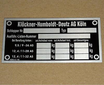 Typenschild Deutz - geätzt Aluminium für 05 -06 Serie Traktor 812 912 (51