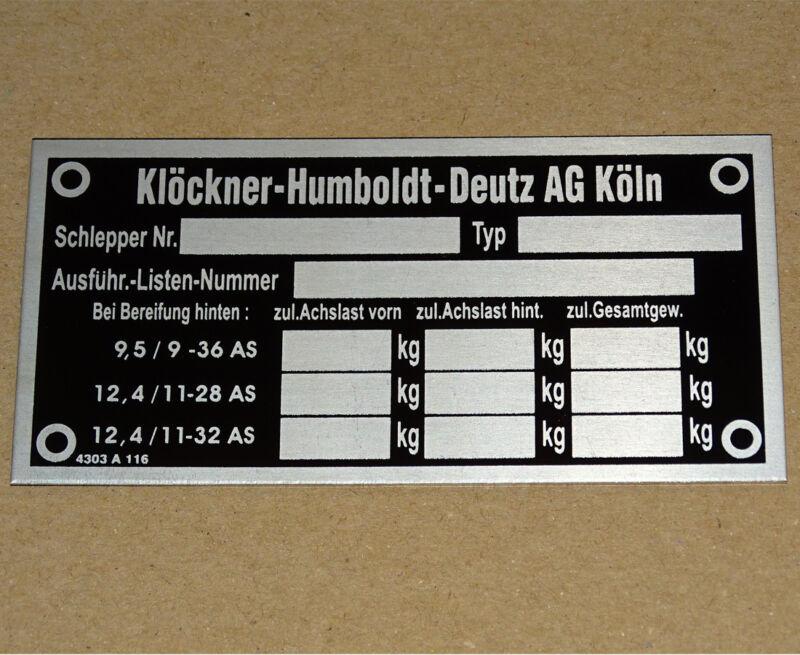 Typenschild Deutz - geätzt Aluminium für 05 -06 Serie Traktor 812 912 (51 Foto 1