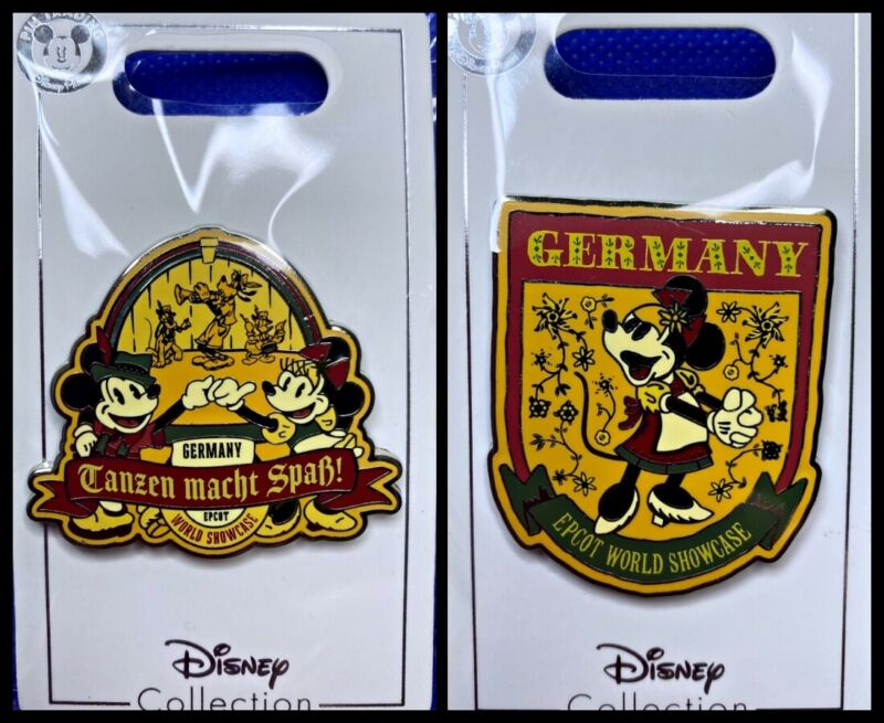 Disney Parks 2 Pin lot Epcot Showcase Germany Mickey and Minnie - New