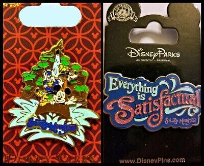 Disney 2 Pin Lot SPLASH MOUNTAIN Magic Kingdom ride slider pin + SATISFACTUAL