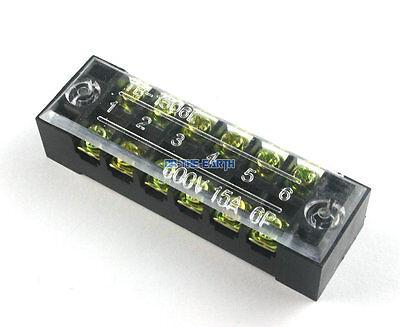 10 Pcs 600v 15a 6 Position Electric Terminal Block Strip Cable Connector Tb-1506