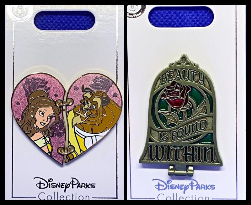 Disney Parks 2 Pin lot Beauty & the Beast heart + rose hinged mirror BATB - New