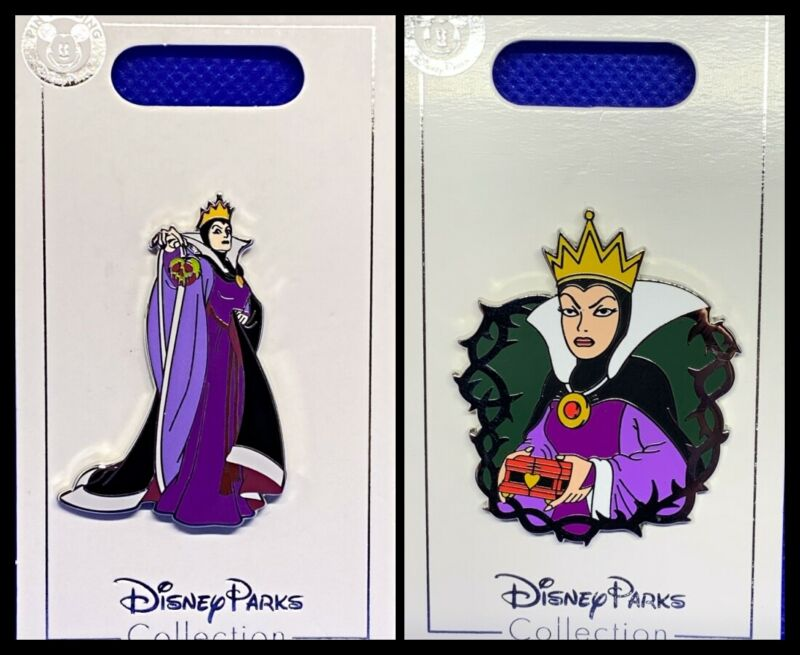 Disney Parks 2 Pin lot Evil Queen with apple + Queen with heart box Villains New