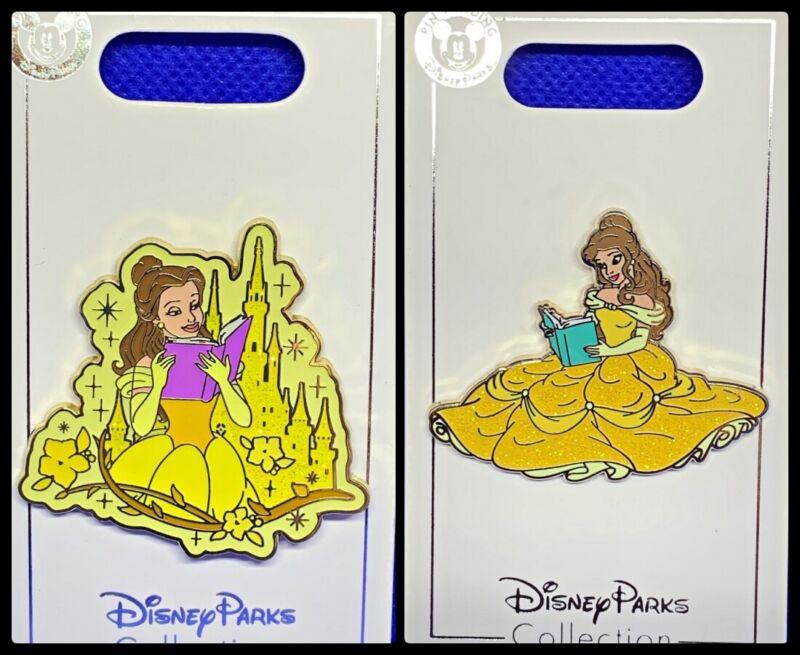 Disney Parks 2 Pin lot BATB Belle reading + castle background - NEW !!!