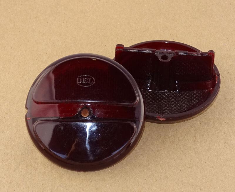 2x Lichtscheibe - Gläser doppel Alt Rot passend zu runde Rückleuchte Blinker  Foto 1