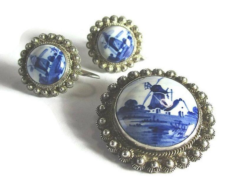 "Silver Blue Delft Pin and Screw-Back Earrings 16.8 grams  pin: 1 3/8"" diameter"