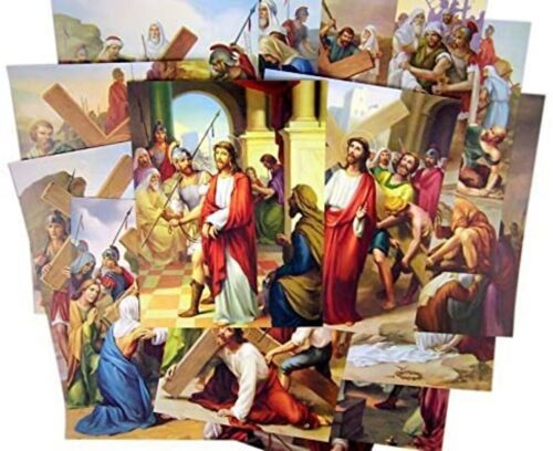 Stations of the Cross Illustrated Cardstock 14 Picture Set For Church, 8 Inch