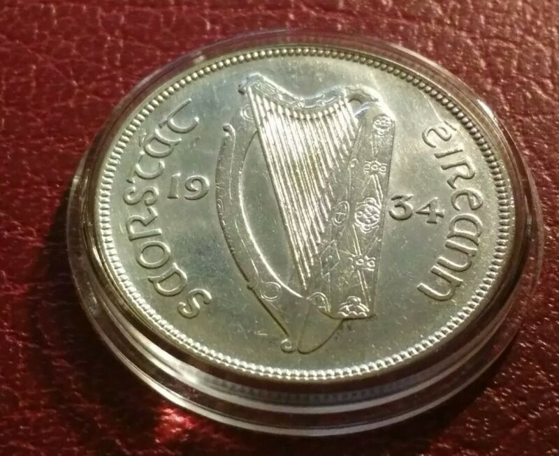 Better XF 1934 Ireland 1/2 Half CROWN 2s6d 1/2 Coiron with Holder Very RARE