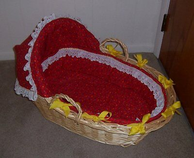 Wicker Baby MOSES BASKET Bassinet Red with Stars Sturdy Infant NJ