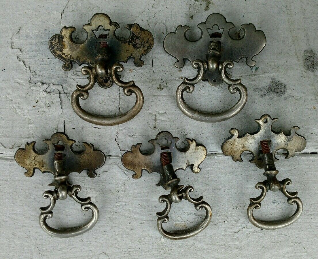 Lot of 5 Drawer Pulls Antique Rusty Chrome Pieces