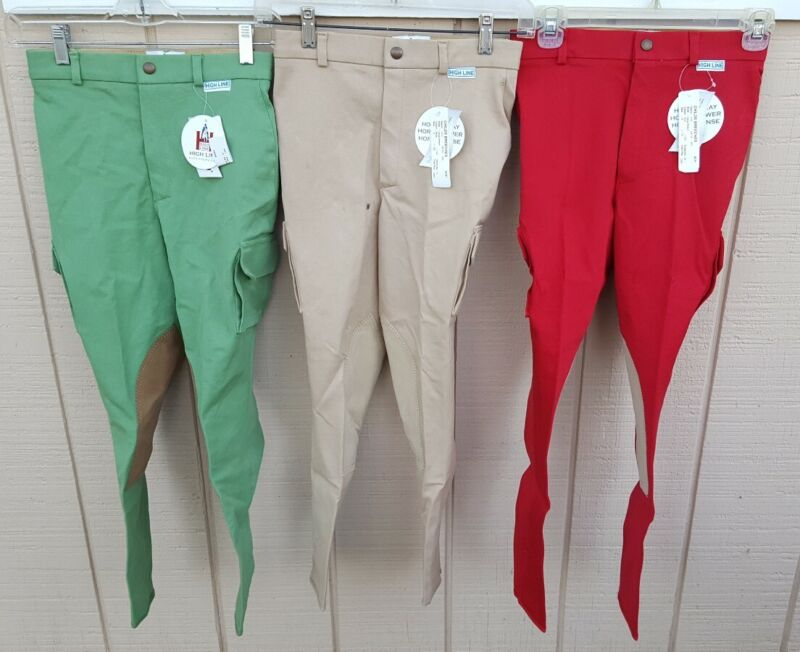 NWT HIGH LINE OUTFITTERS Cargo Pocket Stretch Riding Breeches Green Tan Red