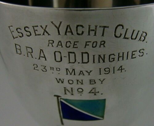 RARE SOLID STERLING SILVER ENAMEL ESSEX YACHT CLUB GOBLET CUP 1914 SAILING 102g