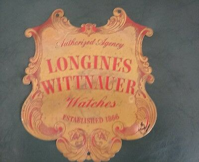 "Vintage Longines Wittnauer Watches Agency Ornate Engraved Brass Sign 8"" by 8 3/4"