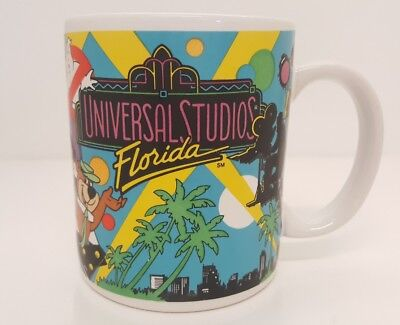 Universal Studios Florida 1988 Coffee Mug Vintage 80s ET Ghostbusters Yogi Bear