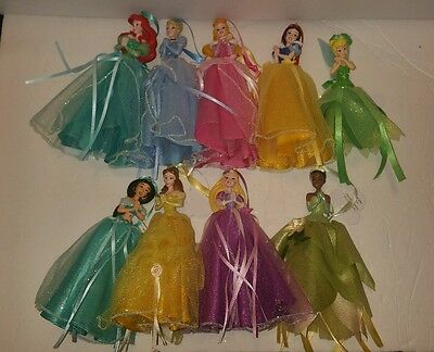Disney Princess Dress Figure Christmas Ornaments Set Of 9 Ariel Tangled Jasmine