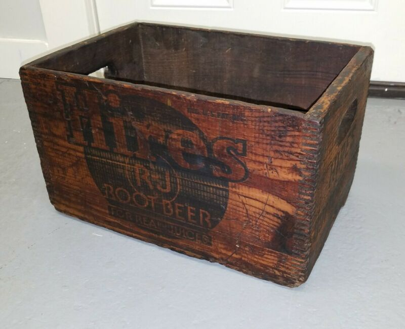 Vintage Hires Root Beer Wooden Wood Crate Box Rumford Maine ME