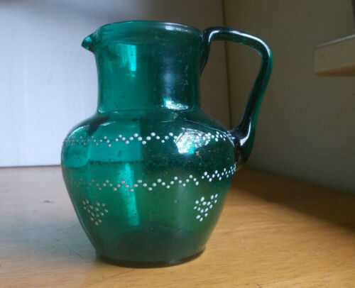 OPEN PONTIL PRETTY TEAL GREEN HAND BLOWN GLASS PITCHER ENAMEL FLOWERS 1870s