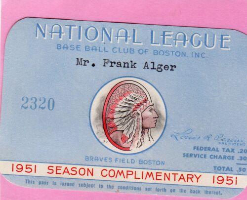 1951 Pass Ticket Boston Braves Cliff Chambers No-Hit GM vs Pirates