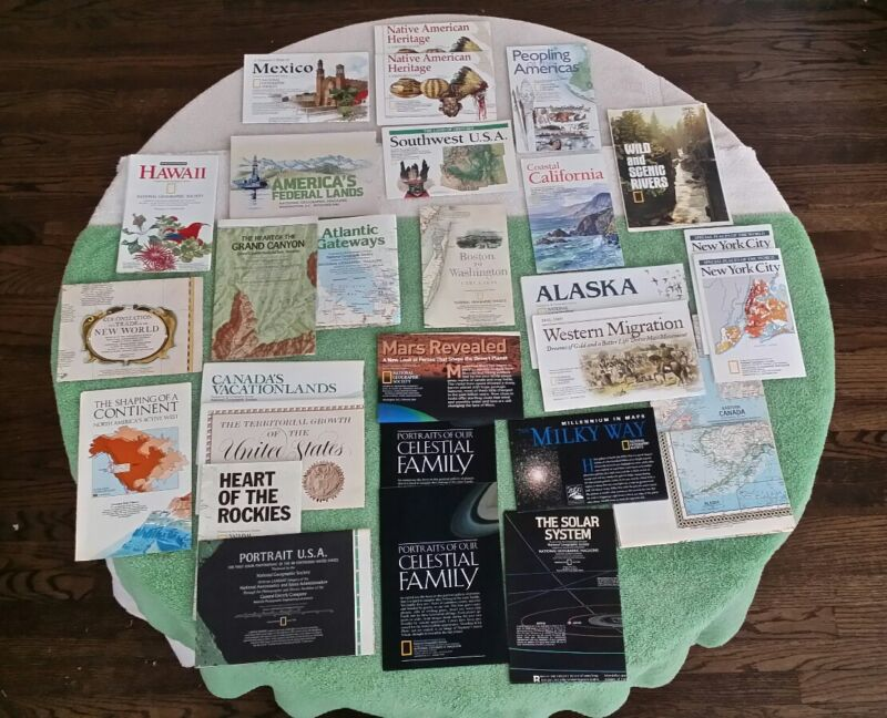 29 National Geographic Maps American People Native USA Space Wilderness Lot VTG