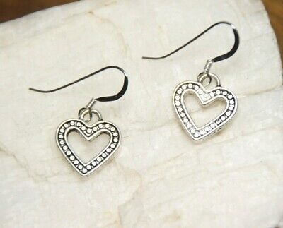 Heart Earrings Pendant 1 pair 925 sterling silver hooks pewter Charms  925 Silver Earrings Pendant