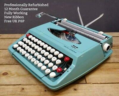 Smith Corona Corsair WORKING Vintage 1960s Portable Typewriter REFURBISHED Blue