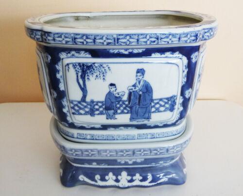 "Vintage Chinese PLANT POT with BASE PLINTH 10""oval blue & white Porcelain"
