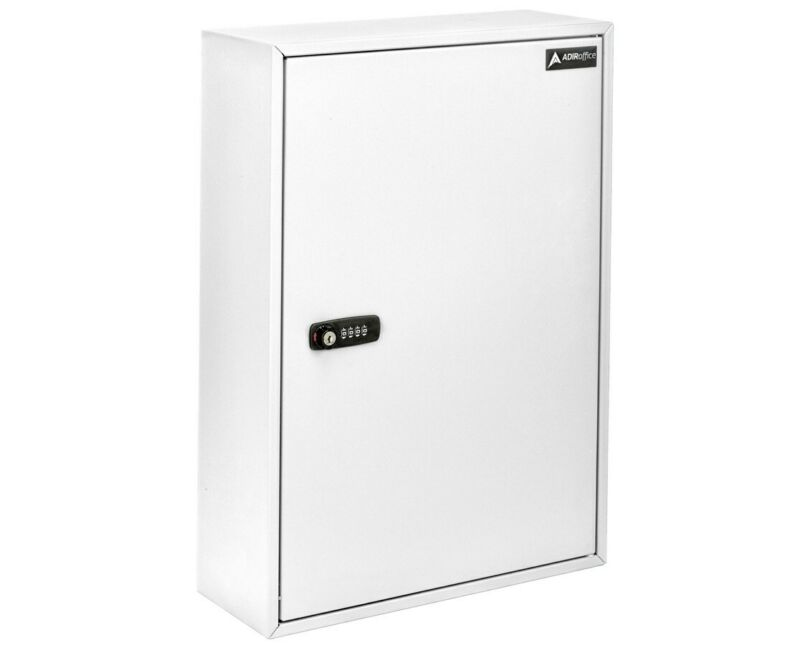 AdirOffice Steel White 200 Key Storage Cabinet Secure Box W/Combination & Key