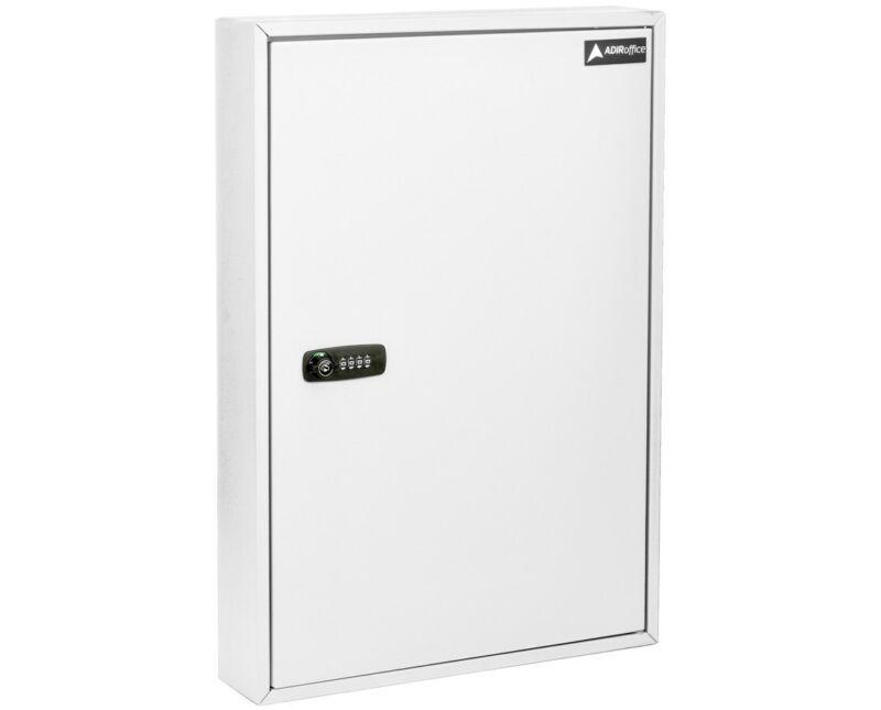 AdirOffice Steel White 100 Key Storage Cabinet Secure Box W/Combination & Key